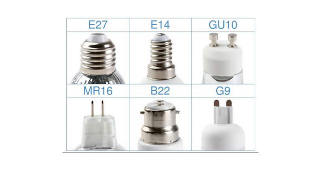 Diferentes tipos de casquillos para bombillas